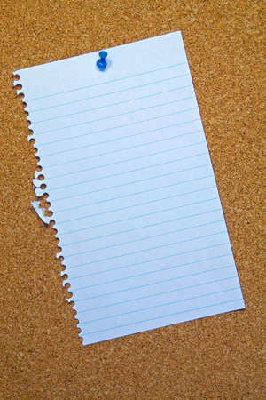 paper pin: A note page pinned to a cork board