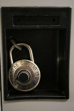 combination: The combination lock on a locker