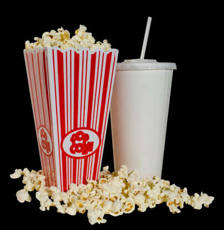 got: Got the snack all ready for the movie - popcorn and pop Stock Photo