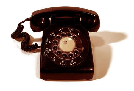 rotary dial telephone: Tel�fono de l�nea de Rotary aisladas y de color sepia