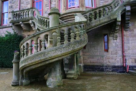 벨파스트 캐슬 북 아일랜드의 나선형 계단 스톡 콘텐츠