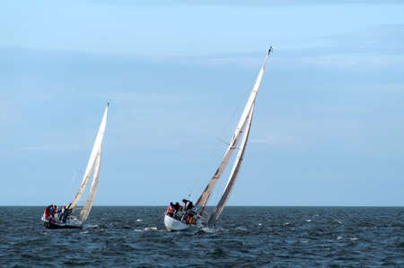 Two sailboats in a race on the North Coast of Ireland Stock fotó
