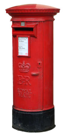 post: An isolated red english post box on white
