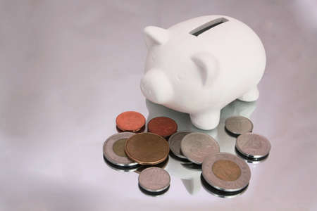 nickle: White piggy bank with change Canadian scattered around
