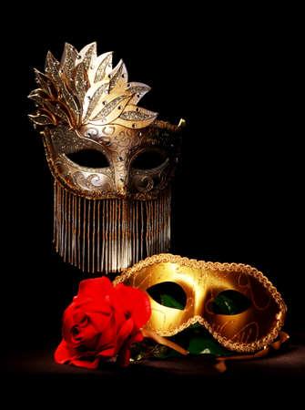 mascaras de carnaval: Máscaras de Masquerade pintados con luz Foto de archivo