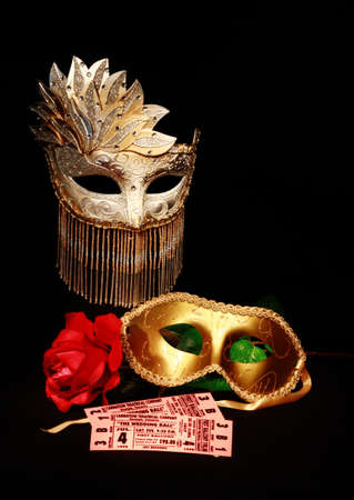 theatre costumes: Two Tickets with masks on display for the opera