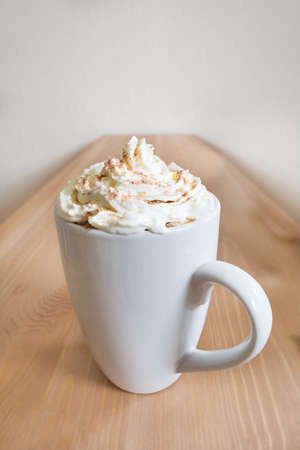whipped cream: Hot chocolate with whipped cream and chocolate powder.