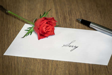 A love letter reading Sorry with a rose and a pen on top. photo