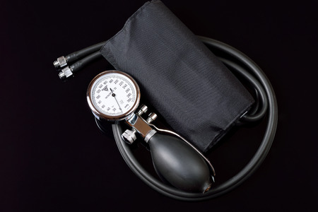 blood pressure bulb: Professional sphygmomanometer Stock Photo