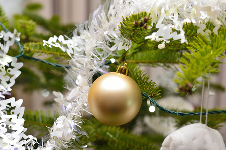 christmas bulbs: Christmas tree with christmas bulbs and decoration Stock Photo