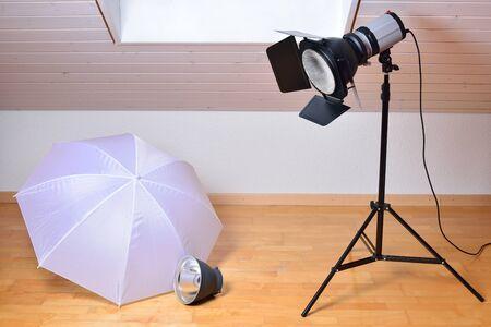 barndoor: Photo studio equipment with studio flash and light modifiers