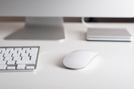 keyboard and mouse: Desktop monitor with a wireless keyboard mouse and dvd drive