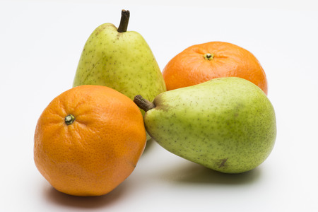 clementines: Pears and clementines isolated on white Stock Photo