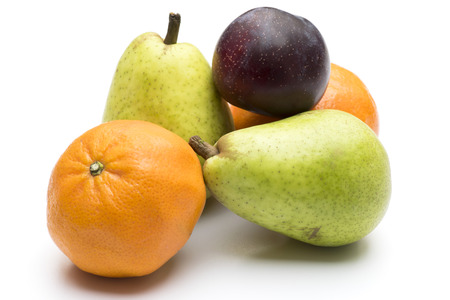 clementines: Pears, plum and clementines isolated on white Stock Photo