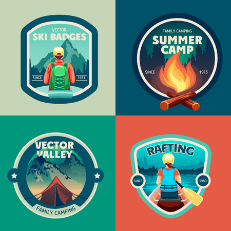Set van outdoor avontuur kamp labels en badges Stock Illustratie