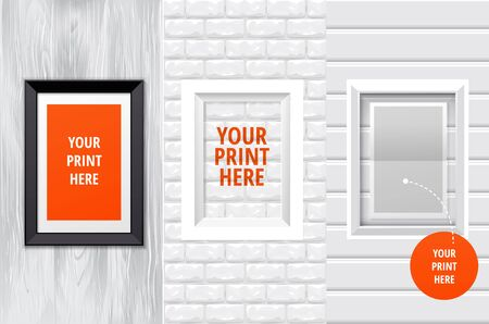 Black frame for yourprints or photographs on the different backgrouns
