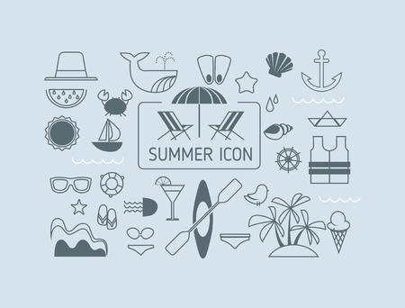 sunglasses recreation: Set of simple summer icons Illustration