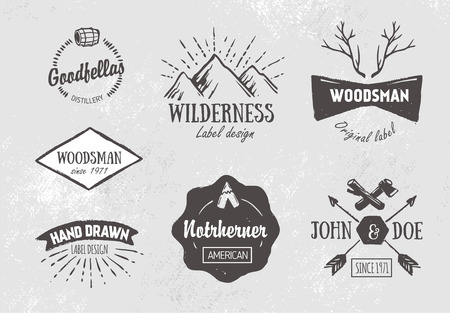 hand silhouette: Set of rough vintage hand drawn labels and design elements
