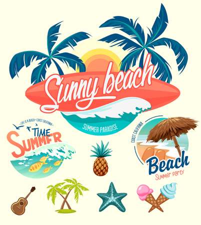 Zestaw letnich surfowania odznak i elementów konstrukcyjnych Ilustracje wektorowe