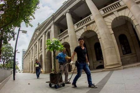 legislative: Workers pull a trolley carrying a tree in front of Former Legislative Council Building at Central, Hong Kong