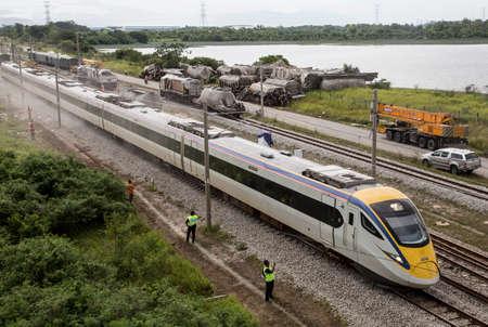 Electrical Train EG 9247 drive passes the Batu Gajah Train Accident, the worst train crash of Malaysia on 28th Oct 2016 in Perak, Malaysia Editorial
