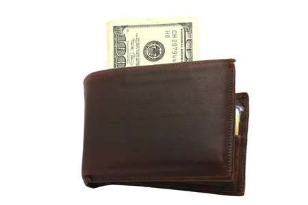 Wallet with 100 Dollars bills photo