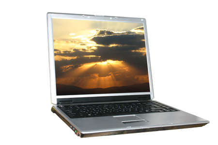 solated: solated laptop with sunset as a background