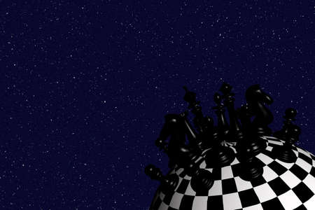 3D image of the chess world (black) � inspired by �Little Prince� by Antoine De Saint-Exupery photo