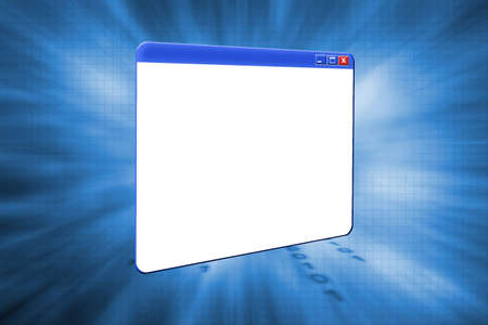 executable: 3D window on abstract background Stock Photo