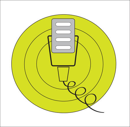 Retro old microphone in green circles Illustration