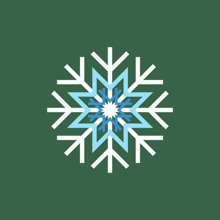 winter season: White blue winter snowflake on green background. End of year and Christmas sale season Illustration