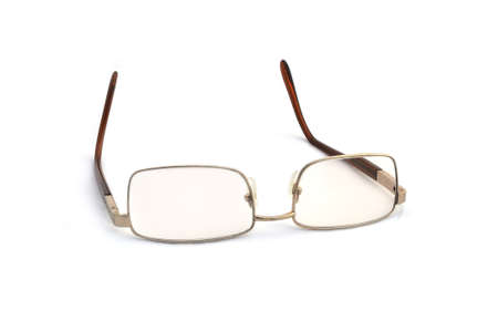 protecting spectacles: Glasses on white background. Stock Photo