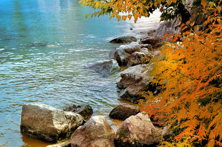 Autumn Leaves Over the Lake Stock Photo
