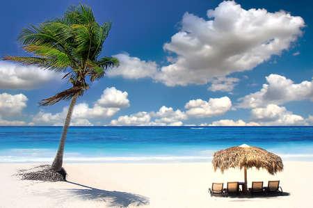 similan islands: A straw umbrella on a beautiful tropical beach