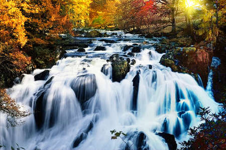 long exposure: beautiful waterfall in forest, autumn landscape. Stock Photo