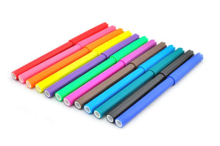 fine tip: Multicolored Felt-Tip Pens on a white background