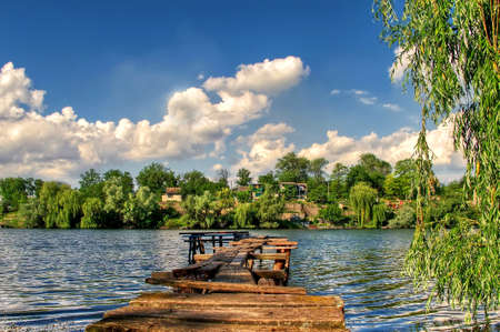 dnieper: Wood pier on the Dnieper Lake in South Ukraine
