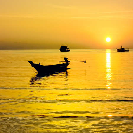 longtail: Long-tail boats at gold sunset, Thailand