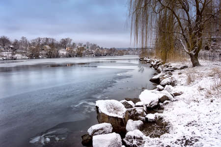 dnieper: winter landscape misty morning on the river Dnieper Stock Photo
