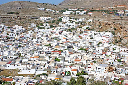 Aerial view of the city of Lindos, Greece Stock Photo