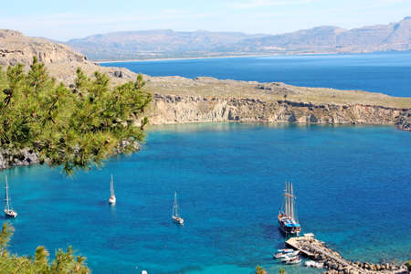 Panoramic view of a bay in Lindos, Rhodos Island, Greece Stock Photo