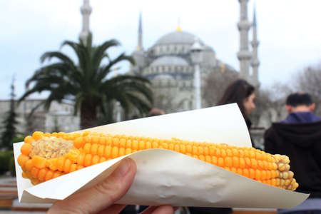 Boiled corn is a very traditional and common fast food in Turkey
