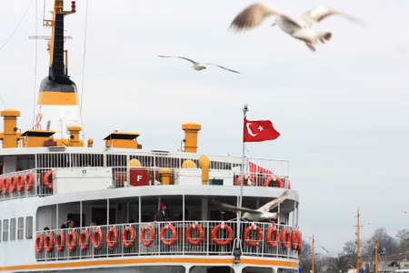 Ferries and seagulls of the Bosporos straight Stock Photo