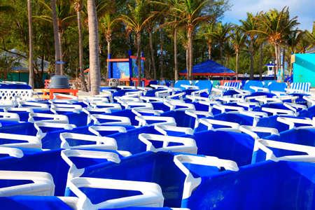 Folded beach chairs