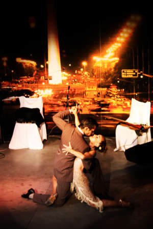 April 2010, Buenos Aires, Argentina: a couple performing tango in one of the numerous tango houses