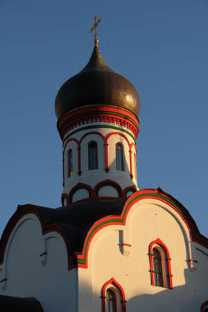 One of the numerous russian church in Moscow at  sunset Stock Photo