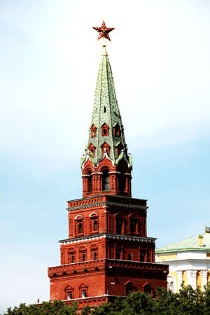 The tower of Kremlin with the star on top as a symbol of Moscow, Russia