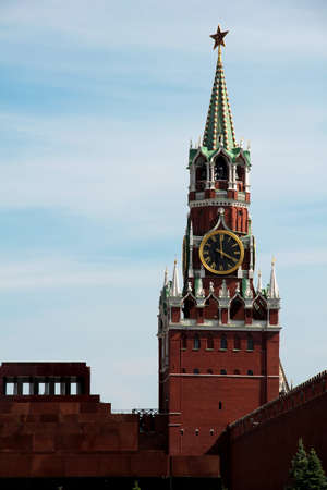 The tower of the Kremlin Mausoleum in the centre of Moscow, Russia