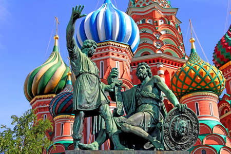The monument to Minin and Pozharsky in front of the most famous Russian Cathedral on the Red Square in Moscow Stock Photo