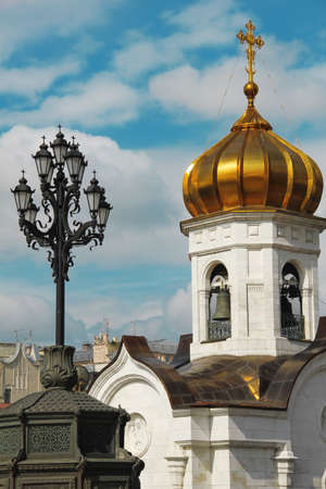The cupola of the temple of Christ the Savior in Moscow, Russia